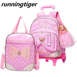 Kids Book Sets Australia - Kids girls Trolley Schoolbag set Luggage Wheeled Book Bags Backpack Latest Removable Children School Bags With 2 6 Wheels Stairs