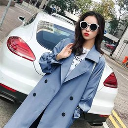 Wholesale long maxi trench coat resale online - Luck A Autumn Winter Women Casual Slim Double Breasted Long Trench Coat Belt Female Korean Maxi Windbreaker Vintage Outerwear