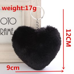 heart shaped handbags wholesale Australia - Fluffy Fur Pompom Keychain Soft Solid Color Heart Shape Pompom Faux Rabbit Fur Ball Car Handbag Key Ring Gift Accessories