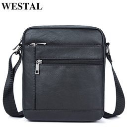 Ipad Genuine Leather Australia - WESTAL Messenger Bag Men's Genuine Leather Shoulder Bag Men Leather Small ipad Crossbody Bags for men naturally Male Flap Bags