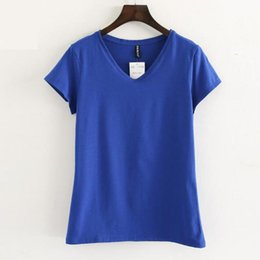 Cotton Knit Tops NZ - Summer Tops Female Casual Tees Knitted Blue Short Sleeve Solid Fashion V-neck T-shirts Women Cotton Harajuku