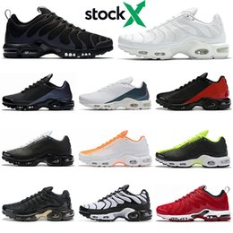 Floor paints online shopping - TN Plus SE stock x men Running Shoes Triple Black white Crimson Volt Spray Paint University Red mens trainers outdoor sports sneakers