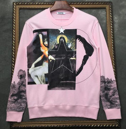 pink shark NZ - 19 European and American style brand autumn and winter new three spells deer virgin shark five-star printing pink sweater men and women jack