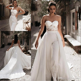 line silk garden wedding dress 2020 - Modest Jumpsuit Beach Wedding Dresses with Detachable Train Sweetheart Pants Satin Lace Appliques Country Mother Bridal