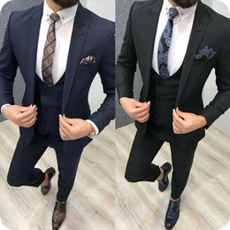 Dark Khaki Suits Australia - Dark Blue Mens Wedding Suits Groom Wedding Tuxedos Black Groomsmen Suits 3Piece Coat Pants Vest One Button Slim Terno Masculino Prom Party