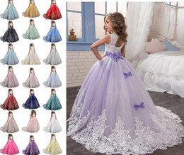 $enCountryForm.capitalKeyWord Australia - Little Girl Kids Clothing Lace Applique Full Length Ball Gown Flower Girl Dress Wish Bow Sash For Wedding Formal Occasion party