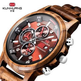 Watch For Men Blue Australia - Wooden Men Watches Casual Stylish Wooden Timepieces Chronograph Quartz Watches Sport Outdoor Watch Gift for Man