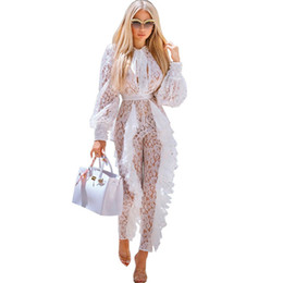 Wholesale floral rompers for women resale online – Sheer Long Sleeve White Lace Jumpsuit For Women Sexy See Through Floral Ruffles Bodycon Rompers Christmas Night Club Overalls Y19060501