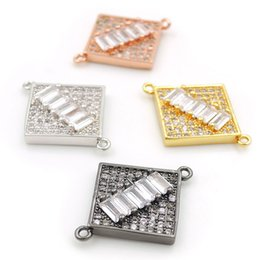 $enCountryForm.capitalKeyWord Australia - 21*17*3mm Micro Pave Clear CZ Square Charm Connectors Fit For Men And Women Making Bracelets Jewelry