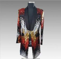 8712a40df2a4c Men Double-Color Purple Black Gold White Sequins Blazer Fashion Punk  Nightclub Bar DJ Singers Suit Jacket Costumes trench coat