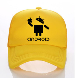 cool style hats UK - Android Summer Trucker hats Men And Children Funny baseball Cap Cool hipster Style Men Sun Hat Breathable Caps Custom LOGO