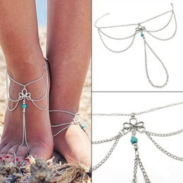$enCountryForm.capitalKeyWord UK - Fashion New Women Multi-layers Beach Barefoot Ankle Jewelry Chain Anklet Connect Toe New Fashion Jewelry Watches
