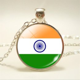 India Alloys Australia - Fashion New Time Gem Glass Cabochon India National Flag World Cup Football Fan Necklaces Sweet Pendants Accessories Wholesale Choker Jewelry