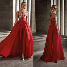 $enCountryForm.capitalKeyWord NZ - Sexy Sheer Neck Jumpsuit Prom Dresses Custom Red Satin 1 2 Sleeves Evening Gowns 2019 Detachable Train Hollow Back Woman Formal Prom Gowns