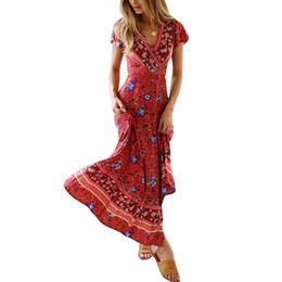 f2882afbb14 Fashion 2019 Vintage Print Summer Dresses Sexy V-Neck Short Sleeve Slit  Party Boho Dresses Women Casual Sashes Beach Maxi Dress