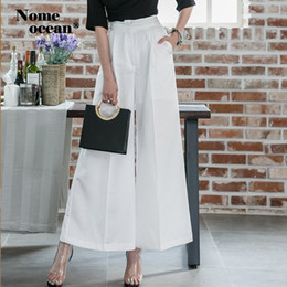 women wide leg pant suits 2019 - High Waist Office Lady Wide Leg Pants Female Trousers 2019 Summer Suit Formal Pants White S-XL OL Hot Sale M19052608 che