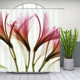 $enCountryForm.capitalKeyWord Canada - Lily Floral Shower Curtains X Ray Creative Plant Bathroom Decor Waterproof Polyester Flower Shower Curtain Set 69 X 70 Inch With Hooks