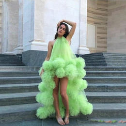 fall winter tutus Canada - Green High Low Prom Dresses African Dubai Tutu Skirts Backless Party Cocktail Dress Sexy Custom Made Beach Boho Evening Gowns ogstuff
