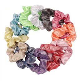 elastic hair combs Australia - Free DHL 12Colors Women Shiny Fashion Elastic Hair Ties Girls Hairband Rope Ponytail Holder Scrunchie Headbands Hair Accessories Headwear