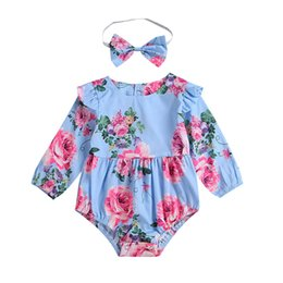 Wholesale Kids Designer Rompers Headbands Girls Long Sleeve Onesies Baby Jumpsuit Round Neck Floral Print Lace Tassel Hair Ball