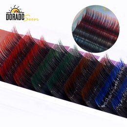 eyelash extensions graft Australia - Doradosun Colorful Fake Eyelash Extension 12 Row Soft Grafting Lashes False Eyelashes Faux Mink Maquiagem Professional Makeup