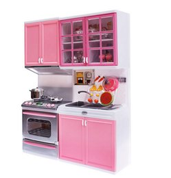 pink toy kitchen NZ - Simulation Pink Kitchen Cabinets Set High-grade Children Pretend Play Cooking Pans Pots Food Tools Girls Tableware Suits Toys