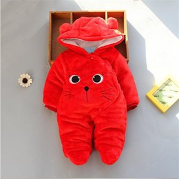 Toddlers Hooded Jumpsuits Australia - good quality winter baby boys girls rompers newborn clothing infant cartoon jumpsuit hooded rompers toddler winter snowsuit clothes