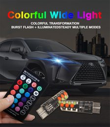 Wholesale DXZ Led W5W T10 RGB Clearance light New Universal Car RGB COB SMDs Colorful Multi Mode Car Light Bulbs With Remote Controller