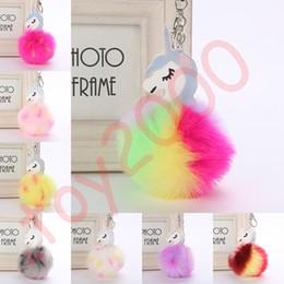 $enCountryForm.capitalKeyWord Australia - Fluffy Metal Alloy Unicorn Pom Keychain Pendant Cute Pompom Artificial Rabbit Fur ball Key Chain Bag Car Key Ring Hang Bag 9cm toys