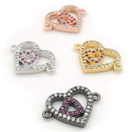 $enCountryForm.capitalKeyWord Australia - 17*12*2mm Micro Pave Clear&Fuchsine CZ 2 Hollow Heart Connectors Fit For Men And Women Making Bracelets Jewelry