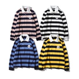 $enCountryForm.capitalKeyWord NZ - 19SS NEW retro trend classic sweater cons iconic logo applique embroidered polo collar long sleeve striped shirt Novelty Top quality Sweater