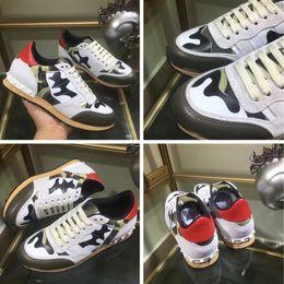 Moda Studs Sneakers Camo Camuflagem Rockrunner Sapatos Casuais Sapatas Dos Homens Top Designer Andando Sapatos-2a31d5as15d venda por atacado