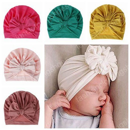 cotton baby girl bonnets NZ - 2019 baby beanies hats wholesale indian bows hats caps kids muslim turban twist accessories girls cotton bonnets newborn photography props