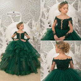 T shirT dress for Toddler online shopping - Dark Green Flower Girl Dresses For Wedding Long Sleeves Princess Pageant Gowns Lace Up Sequins Ruffles Toddlers Teens Kids Customize