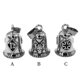 skull wing pendants Australia - One Percent 1% ER Skull Biker Bell Pendant Stainless Steel Wing Army Cross Lucky 13 Pendant 506B (Has steel ball,no bell sound)