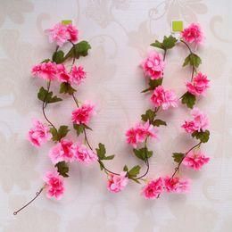 $enCountryForm.capitalKeyWord Australia - 220cm Sakura Cherry vine Wedding flowers decoration rattan silk flowers Home party decor Silk Ivy wall flower Hanging Wreath Garland