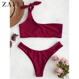 purple bikini swimsuits Canada - Zaful Women Bow One Shoulder Bikini Top And Bottoms Sexy Low Waisted Bralette One Shoulder Swimsuit Summer Beach Bikini Y19072601