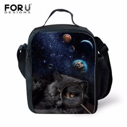thermal white bag NZ - FORUDESIGNS Black Cat Printed Insulated Lunch Bags Thermal Polyester Lancheira Thermal Insulated Lunch Bag Family Picnic Box