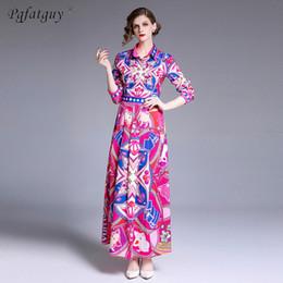 Shirt Collar Hit Australia - New 2019 Summer Runway Designer Long Dress Women Hit Color Geometric Pattern Printing Shirt Collar Floor-Length Pleated Dresses
