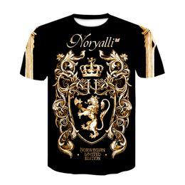 Wholesale golden color shirts men resale online – shirt new summer T shirt D digital print T shirt men women vintage luxury royal floral print Golden flower brand Tshirt