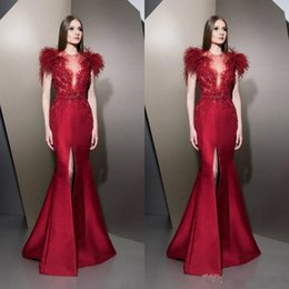 short long sleeve feather cocktail dress NZ - ziad nakad Evening Dresses Red Long Prom Evening Gowns 2019 robe de mariée Cocktail Party Dresses Plus Size