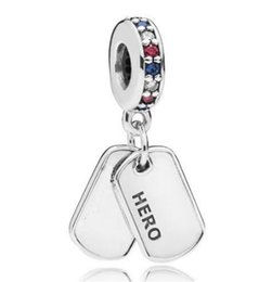 Multi colored bracelets online shopping - Original Sterling Silver Charm Hero Dog Tag With Multi Colored Crystal Pendant Beads Fit Bracelet Necklace Jewelry