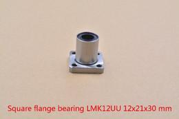 12mm Bearing Australia - 3d printer parts 12mmx21mmx30mm LMK12UU square flange ball bearing bush for 12mm linear axis cnc diy 1pcs