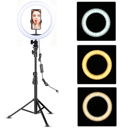 Wholesale Youtube Makeup Video Live Shooting LED Ring Light Ring lamp 10 inch with phone holder Tripod Stand Selfie Ringlight Circle Tikok Lamp