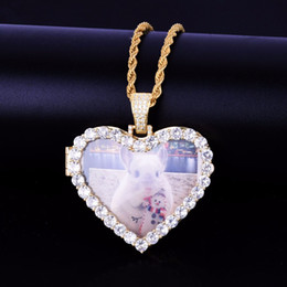 Making Photo Pendants Australia - Custom Made Photo Heart Medallions Necklace & Pendant With Rope Chain Gold Color A+++ Zircon Men's Hip hop Jewelry 5x4.8cm