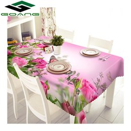 Table Cloth Yellow Australia - GOANG cotton tablecloth 3d rose flower Butterfly pattern Polyester Dustproof waterproof rectangular and round table cloth