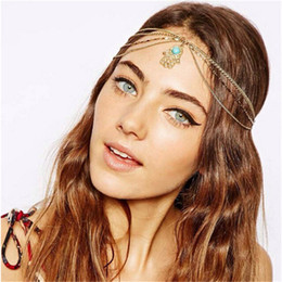 head chain headband Australia - Charming Bohemian Beach Wedding Bridal Hair Accessories Head Chain With Metal Pendant Forehead Headband Indian Style Retro Bridal Accessory