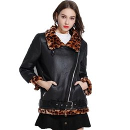 Punk leoPard Print online shopping - 2019 Women Faux Leather Lambs Wool Jacket Coats Female Warm Thick Leopard Print Faux Lamb Leather Punk Loose Outerwear PY15