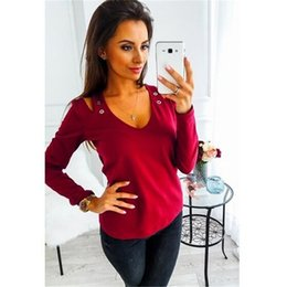 Long Sleeve Tees For Women Australia - Sexy Off Shoulder Women T-shirt 2019 New Fashion Long Sleeve V Neck Tops Tee Casual T-Shirt For Ladies