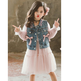 $enCountryForm.capitalKeyWord Australia - Girls Clothes Suit Pearl Neck Denim Vest + Mesh Dress 2PCS Girl Set Clothes Teenage Children Clothing 6 8 10 12 13 14 Year